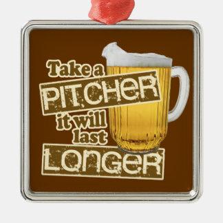 おもしろいなビール飲むユーモア メタルオーナメント
