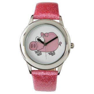 おもしろいなピンクのブタの芸術の腕時計 腕時計