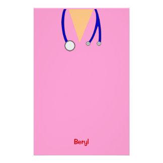 おもしろいなピンクの医学はお洒落な名前入りごしごし洗います 便箋