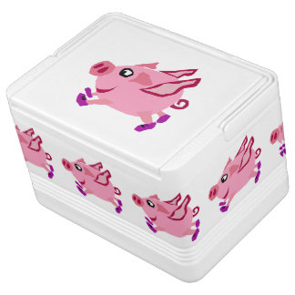 おもしろいなピンクの飛んでいるなブタの漫画 クーラーボックス