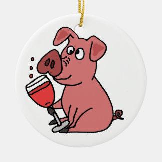 おもしろいなピンクの飲むワイン セラミックオーナメント