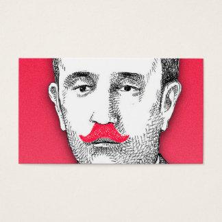 おもしろいなピンクの髭を搭載するヴィンテージの紳士 名刺