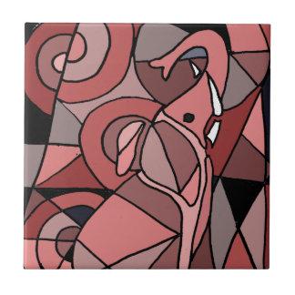 おもしろいなピンク象の抽象美術のオリジナル タイル