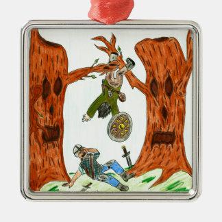 おもしろいなファンタジーの木 シルバーカラー正方形オーナメント