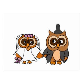 おもしろいなフクロウの新郎新婦の結婚式 ポストカード