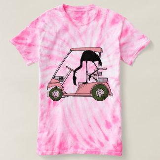 おもしろいなフラミンゴのゴルフカート Tシャツ