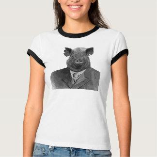おもしろいなブタのTシャツ-人間の形をした芸術 Tシャツ