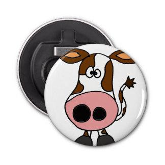 おもしろいなブラウンおよび白い牛漫画 栓抜き