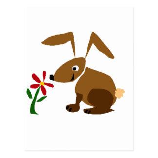 おもしろいなブラウンのバニーウサギの原住民の芸術 ポストカード