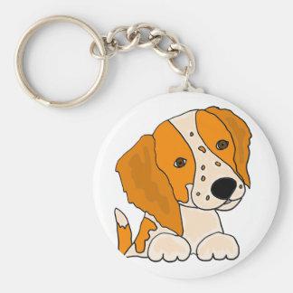 おもしろいなブリッタニースパニエル犬の小犬の芸術 キーホルダー
