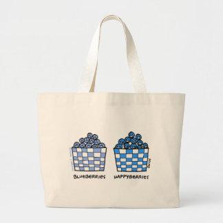 おもしろいなブルーベリーの漫画の食料雑貨のトート ラージトートバッグ