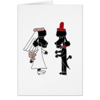おもしろいなプードルの新郎新婦の結婚式 カード