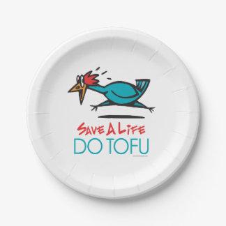 おもしろいなベジタリアン、ビーガンは豆腐をします 紙皿 小