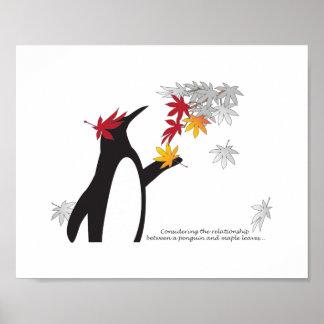 おもしろいなペンギンおよび紅葉の引用文の秋季 ポスター