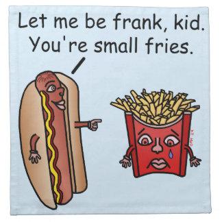 おもしろいなホットドッグのフライドポテトの食糧しゃれ ナプキンクロス