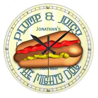 おもしろいなホットドッグの名前入りな台所時計 ラージ壁時計