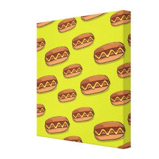 おもしろいなホットドッグの食糧デザイン キャンバスプリント