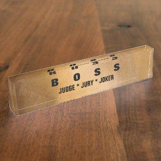 おもしろいなボスの銅の机のネームプレート デスクネームプレート