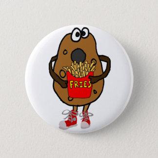おもしろいなポテトの食べ物のフライドポテトの漫画 缶バッジ