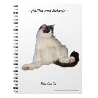 おもしろいなメインのあらいぐま猫の着席のノート ノートブック