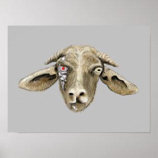 おもしろいなヤギのサイボーグのノベルティの芸術ポスター ポスター