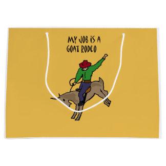 おもしろいなヤギのロデオの仕事のユーモアの漫画 ラージペーパーバッグ