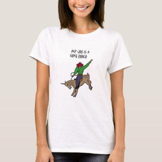 おもしろいなヤギのロデオの仕事のユーモアの漫画 Tシャツ