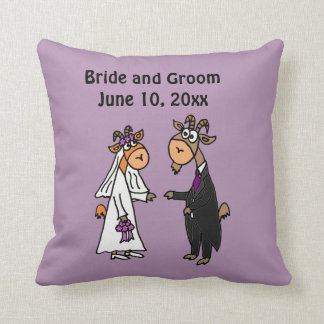 おもしろいなヤギの新郎新婦の結婚式 クッション