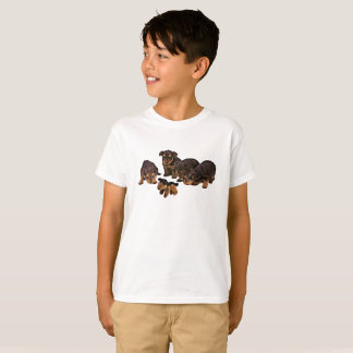 おもしろいなヨークシャテリアの小犬の男の子のTシャツ Tシャツ
