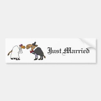 おもしろいなラクダの新郎新婦の結婚式の漫画 バンパーステッカー