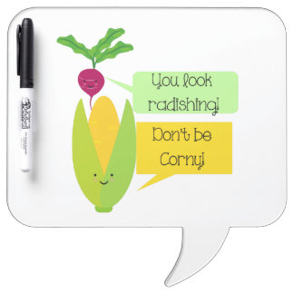 おもしろいなラディッシュおよびトウモロコシの野菜のユーモア ホワイトボード