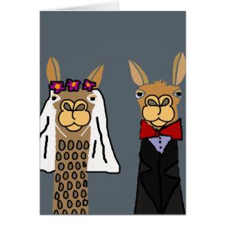 おもしろいなラマの新郎新婦の結婚式の芸術 カード