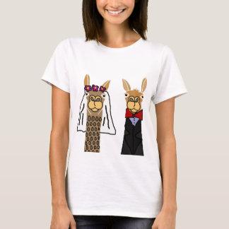 おもしろいなラマの新郎新婦の結婚式の芸術 Tシャツ