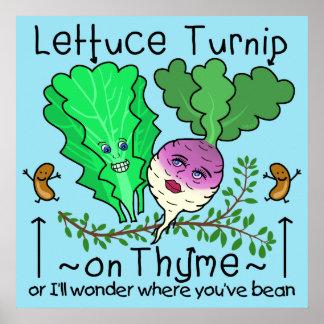 おもしろいなレタスのカブのタイムの野菜しゃれの漫画 ポスター