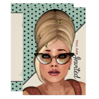 おもしろいなレトロの毛および美容院のイベントの招待状 カード