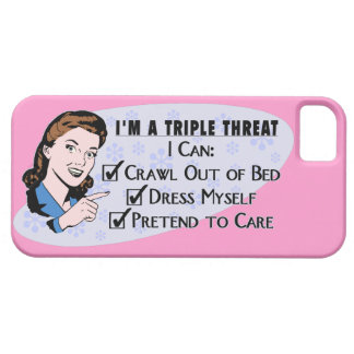 おもしろいなレトロの50年代の皮肉な女性: 三重の脅威 iPhone SE/5/5s ケース