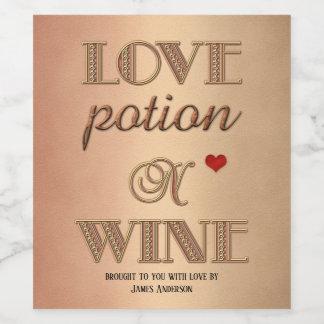 おもしろいなレトロ愛ばら色の金ゴールドのワインのラベル ワインラベル