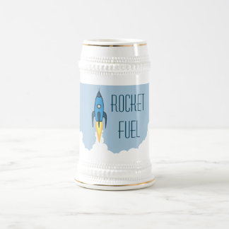 おもしろいなロケット燃料の青いレトロの漫画Rocketship ビールジョッキ
