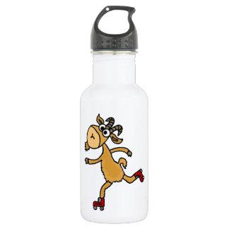 おもしろいなローラースケートで滑るのヤギのスケープゴート ウォーターボトル