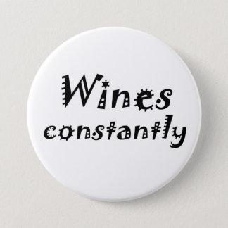 おもしろいなワインのvinoの冗談はギフトのノベルティボタンを引用します 7.6cm 丸型バッジ