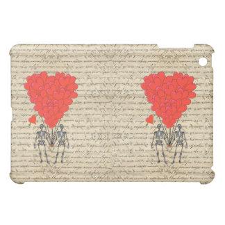 おもしろいなヴィンテージの骨組および赤いハート iPad MINIケース