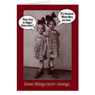 おもしろいなヴィンテージの20年代のより古い姉妹のバースデー・カード カード