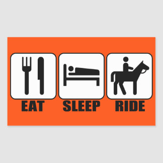 おもしろいな乗馬者は睡眠の乗車をあらゆる色食べます 長方形シール