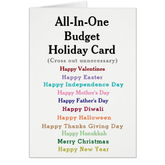 おもしろいな予算の休日カード カード