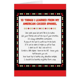おもしろいな事はアメリカン・コッカー・スパニエルから学びました カード
