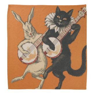 おもしろいな人間の形をした白いウサギおよび黒猫 バンダナ
