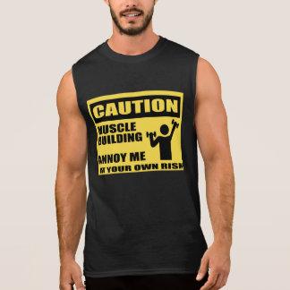 おもしろいな体育館のTシャツ、筋肉建物 袖なしシャツ