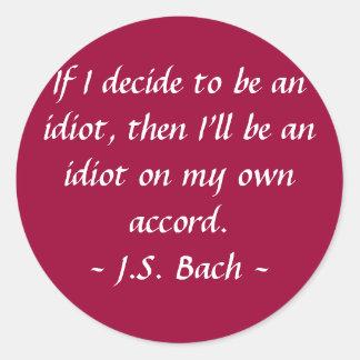 おもしろいな作曲家の引用文- Bach 丸形シールステッカー