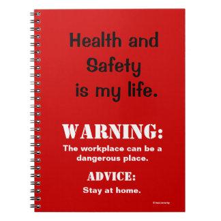 おもしろいな保健及び安全性の警告標識および引用文 ノートブック
