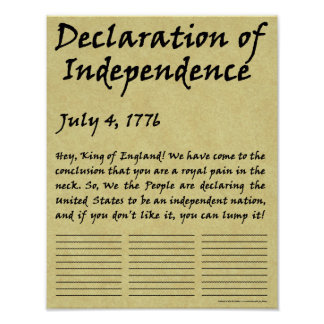 おもしろいな凝縮させた独立宣言 ポスター